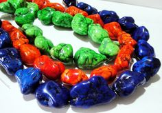 Blue Orange  GreenTurquoise Magnesite Chunky Nugget Beads 16 Inch Strand Extra Chunky Nugget Beads $9.75