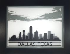 Layered cityscape background // Dallas skyline silhouette 3D laser cut cityscape by CarbonLight