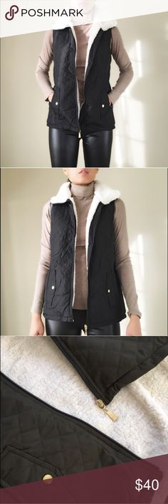 """MUST HAVE Quilted vest with full shearling lining. Black quilted shearling vest. Lightweight and stylish. Full shearling lining and collar. High collar. With pockets. Gold hardware zip and buttons. 100% polyester on shell 1,2&3. Size S: bust 18"""" LENGHT front:23.5"""" back:26"""". Size M: bust 19"""", front length:23.5, back26.5"""". Size L: bust 20"""", LENGHT f:24.5, back27.5"""". High collar 3"""" zip up. Lightweight vest. 👉🏼Follow me on  📸INSTAGRAM: @chic_bomb  and 💁🏻📘FACEBOOK: @thechicbomb CHICBOMBC…"""