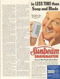 1950-VINTAGE-ORIGINAL-SUNBEAM-SHAVEMASTER-IN-LESS-TIME-SOAP-BLADE-PRINT-AD-590AF