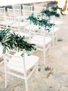 Pastel Blue & Green Destination Wedding at Corfu Luxury Villas, Planned by Rosmarin Weddings & Events Wedding Ceremony Chairs, Modern Wedding Venue, Romantic Wedding Receptions, Wedding Chair Decorations, Ceremony Seating, Inexpensive Wedding Venues, Wedding Events, Wedding Ceremonies, Outdoor Weddings