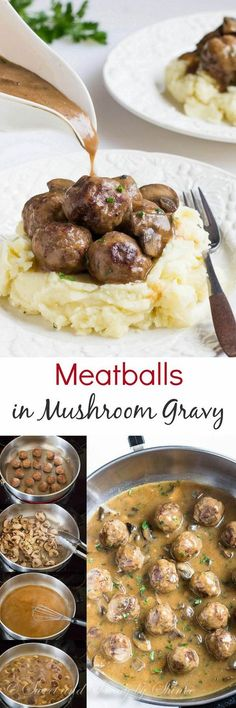 Juicy tender meatballs are first pan-fried for deliciously crispy exterior and then smothered in hearty mushroom gravy! Plus, learn how to make ton of meatballs for your freezer, step by step.