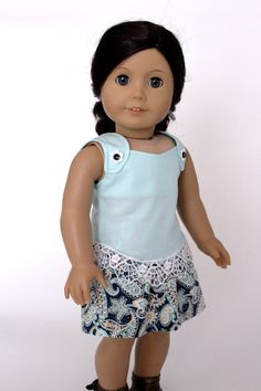 CLEARANCE 18 inch doll clothes - Paisley&Lace Skirt and Blouse Set with matching hair tie