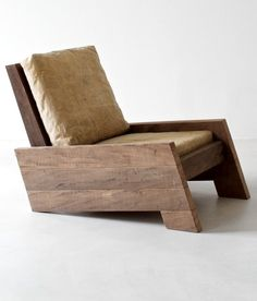 Chair by the Brazilian designer Carlos Motta made of recycled massive wood, 2002