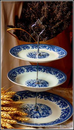 Three tier handmade cake stand made of brand by PoshandSeductive