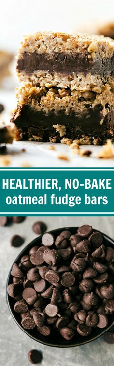 No baking required for these healthier chocolate + peanut butter oatmeal fudge bars. A thick peanut butter chocolate fudge layer in the middle of 2 oatmeal layers makes for a fun and unique treat. Recipe via http://chelseasmessyapron.com