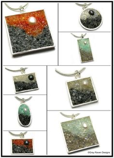 Mosaic Jewelry - Pendants - Pearl and Gemstone Landscapes