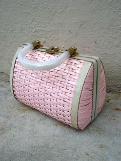 Vintage 50s pink handbag...I had one similar in white and pink in the late 60's...:)
