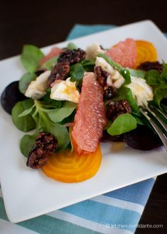 Beet, Grapefruit and Mache Salad. So fresh and earthy!