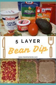 This 5 Layer Bean Dip is a party favorite! 5 Layer Bean Dip, Layered Bean Dip, Bean Dip Recipes, New Recipes, Favorite Recipes, Simple Recipes, Drink Recipes, Vegetarian Recipes, Recipies