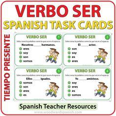 Spanish Task cards to practice the conjugation of the verb SER. Tarjetas de selección múltiple para practicar la conjugación del verbo SERen español.
