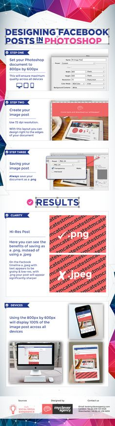 Designing Facebook Image Posts in Photoshop This infographic created by Mycleveragency proposes 3 steps that will help you create hi-res Facebook image for all devices. Set your PS document to 800px by 600px, always use 72 dpi resolution and save your image as a .png format.
