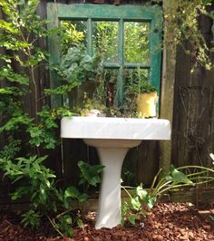 My original pedestal sink finds new home in my garden. Salvage & repurpose vintage cast iron pedestal sinks into garden planters.