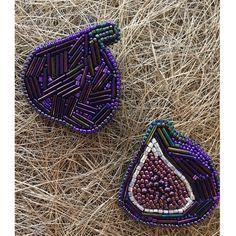 Брошь инжир из бисера Embroidered bead brooch figs . Bead jewelry