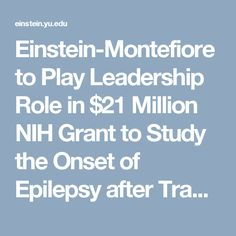 Einstein-Montefiore to Play Leadership Role in $21 Million NIH Grant to Study the Onset of Epilepsy after Traumatic Brain Injuries   Albert Einstein College of Medicine
