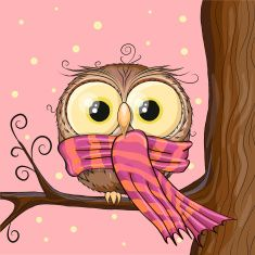 Owl on a brunch vector art illustration