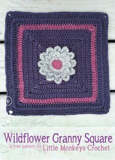 12″ Wildflower Granny Square No. 2 ~ Little Monkeys Crochet