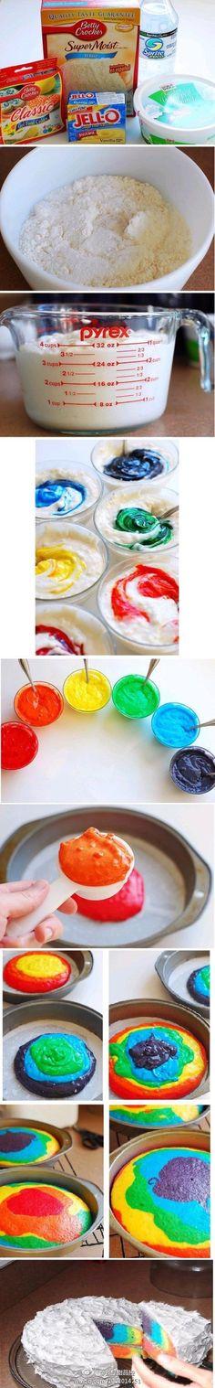 Eenvoudige uitleg hoe je een regenboog cake maakt