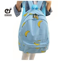 Wholesale Banana Popsicles hands pattern canvas shoulder bag student printing backpack school bags for girls leisure backpack