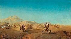 Algérie - Peintre Suédois ,Henrik August Ankarcrona (1831–1917), Huile sur toile , Titre : Scène de bataille au pied des montagnes .