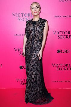 Lady Gaga performed at the 2016 Victoria's Secret Fashion Show and chose this Alaïa lace dress as her pink carpet number. The look was just one of her FIVE, yes five, outfits of the night.