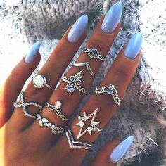 Shop & Buy 10 Pcs/set Vintage Female Rings Anise Star Circle Leaf Drop Crown Mask Crystal Joint Silver Ring Set Lady Wedding Jewelry Online from Aalamey Hand Jewelry, Cute Jewelry, Jewelry Rings, Jewelery, Jewelry Accessories, Stylish Jewelry, Boho Jewellery, Stylish Rings, Bohemian Jewelry