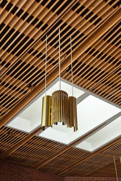 Council chamber ceiling, with lamp and skylight. Introductory text here. Alvar Aalto, Alto Alvar, Famous Architects, Wood Ceilings, Town Hall, Skylight, Architecture Design, Ceiling Lights, Lighting
