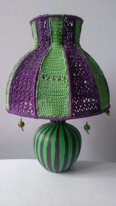 The Mad Hatter is a small upcycled tabletop or bedside lamp which will enlive. Crochet Lamp, Hand Crochet, Vintage Lamps, Vintage Table, Bohemian Lamp, Bold Colors, Colours, Bedside Lamp, Lampshades