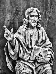 Wood carved Jesus Black and white photography by gerhards on Etsy, Black And White Photography, Buddha, Carving, Etsy, God Jesus, Statue, Wood, Carving Wood, Wall Canvas