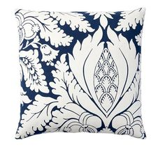 Damask Print Pillow Cover | Pottery Barn. Two of these pillows but only if you select the solid navy duvet