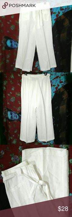 "White linen wideleg summer pants * Offers are awesome :) * Bundles make it better! New York & Company classy cream wideleg palazzo summer dress pants. Flat front with two square waist pockets. Matching sash belt. Zip and hook/clasp fly closure. - Size 8- have been hemmed to a petite inseam. Measurements laid flat:  Waist 15""  Rise 11""  Inseam 27""   Cuff opening 18"" - Fabric: 55% linen, 45% rayon  - Like new condition- no flaws or signs of wear. #linenpants #palazzopants #classy #summerchic…"