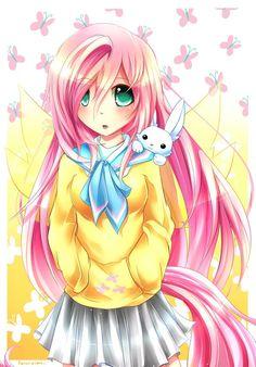 MLP Gakusei : Fluttershy by Fenrixion.deviantart.com on @deviantART #mylittlepony