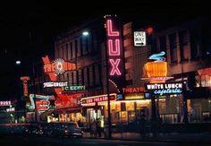 "Vancouver once glowed with neon signs. Fred Herzog ""Hub & Lux"", 1959 Courtesy of Equinox Gallery Walker Evans, Tim Walker, Spencer Tunick, Herbert List, Lee Friedlander, Mary Ellen Mark, Karl Blossfeldt, Stephen Shore, August Sander"