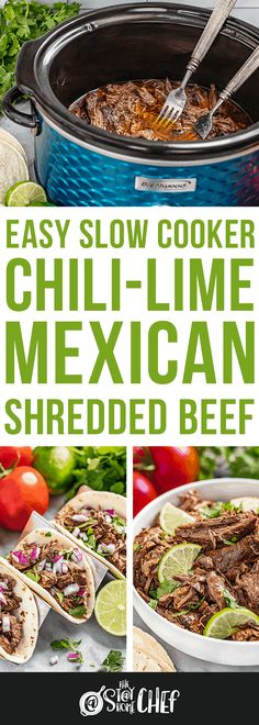 Easy Slow Cooker Chili Lime Mexican Shredded Beef takes mere minutes to prepare before letting the slow cooker do all of the work! This super simple meal is ridiculously tasty and so versatile. Serve it up plain, or enjoy it in tacos, burritos, enchiladas, quesadillas, and more! Shredded Beef Recipes, Mexican Shredded Beef, Easy Meat Recipes, Entree Recipes, Pork Recipes, Slow Cooker Recipes, Mexican Food Recipes, Crockpot Recipes, Crowd Recipes