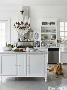 This kitchen island's cabinetwork incorporates molding from an old bed. Design: Annie Brahler. :)