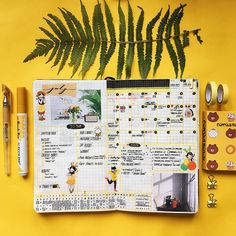 June spreads, yellow! I have video of making this spread on my channel, you can watch it here: https://youtu.be/DyyfCNEB7Fw • • • #bujo #bujojunkies #june #summer #fern #green #bulletjournal #explore #studyspo #tropical #bujoideas #bujoinspo #vscocam #instabujo #study #inspiration #bulletjournallove #studygram #studyblr #notes #studying #journal #home #aesthetics #vsco #cozy