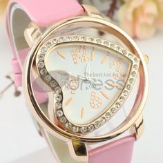 Lovely pink heart-shaped fashion watches