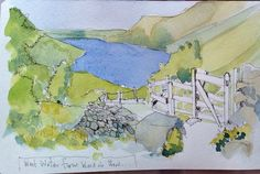 Wast Water from Wasdale Head : a sketch study in my Moleskine watercolour book Watercolor Books, Watercolor Sketchbook, Watercolor Painting Techniques, Pen And Watercolor, Watercolour Tutorials, Art Sketchbook, Painting & Drawing, Watercolor Paintings, Landscape Sketch