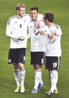 André Schürrle, Mesut Özil and Mario Götze www.brasilcopamundotowel.com soccer a beautiful game