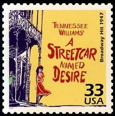 USA 33c postage stamp from a 1999 series featuring Broadway plays. This one is for Tennessee Williams' A streetcar Named Desire