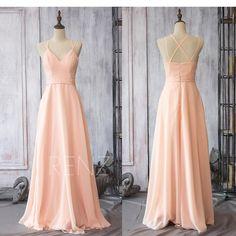 d75d37bcbc529 Bridesmaid Dress Peach Chiffon Dress Wedding Dress Criss Cross Straps Maxi  Dress V Neck A-Line Prom Dress Long Party Dress(F089)-Renzrags