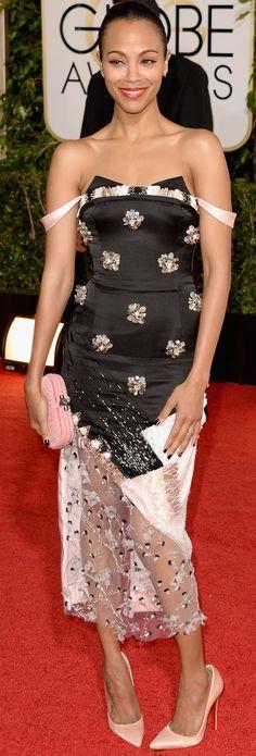 Zoe Saldana chose a quirky Prabal Gurung dress for the Golden Globes