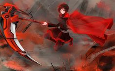 HD Background RWBY Ruby Rose American Animation Series Red Sword ...