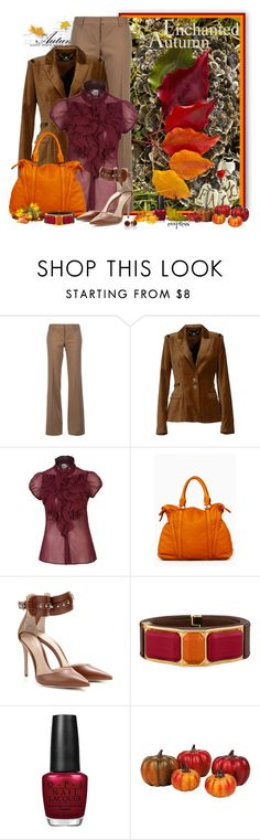"""""""Spectrum of Leaves"""" by exxpress ❤ liked on Polyvore featuring Dsquared2, Elisabetta Franchi, Saint Tropez, Gianvito Rossi, Prada, OPI, Fall, blazer, autumn and onepicture"""