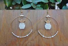 Boucles d'oreilles créoles en perles Miyuki sur le Comptoir des Perles sur Etsy