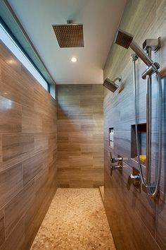 Contemporary Master Bathroom with Artos Safire Ceiling Mount Rain Shower Head, Rain shower, penny tile floors