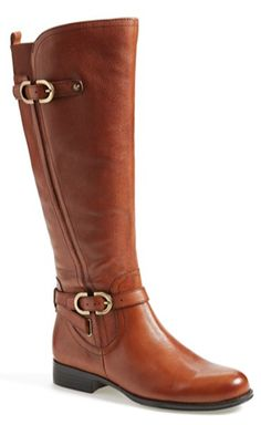 cognac leather knee high boots