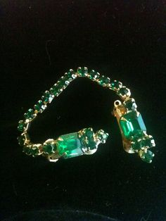 Vintage Green Rhinestone Sweater Clips by BijouxFantaisie on Etsy, $18.00