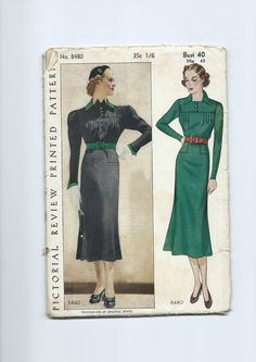 Pictorial Review 8480 | 1930s Misses' Dress pattern