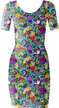 Rainbow Peace Short Sleeved Bodycon Dress - Available Here: http://printallover.me/products/0000000p-rainbow-peace-1